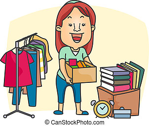 Garage Sale - Illustration of a Girl Preparing a Garage Sale