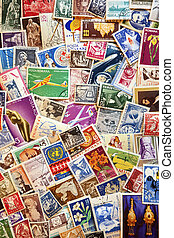 Pile of used post stamps from Romania