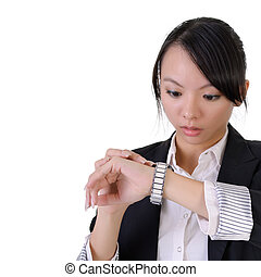 surprised - Business woman looking watch with surprised...
