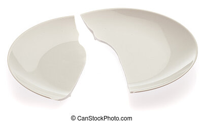 broken plate isolated on a white background
