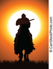 Knight With Lance - Silhouette illustration of a knight with...