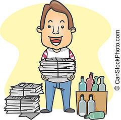 Man Organizing Things for Recycling - Illustration of a Man...