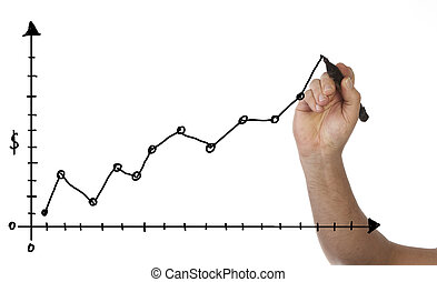 Business Chart - Hand is drawing a business chart, isolated...