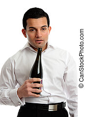 Alcohol Abuse - drunk man holding bottle wine