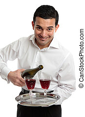Smiling servant or waiter with wine - A friendly hospitality...