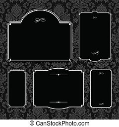 Vector Damask Pattern and Black Frame Set - Set of ornate...