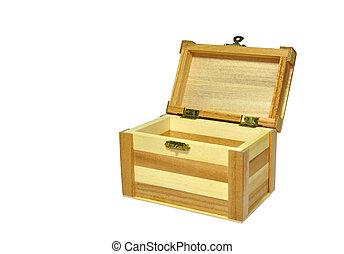 Treasure Box - a wooden Treasure Box open