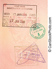 passport stamps - visa to singapore