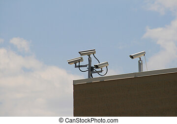 security cameras - multiple security cameras record from the...