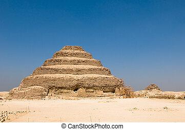 passo, piramide, Saqqara, Egito