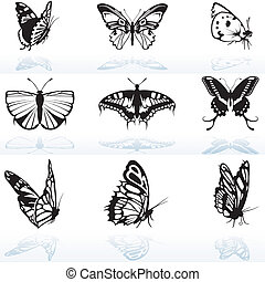 Butterfly Silhouettes - colored illustration, vector