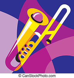 trombone - vector image trombone. Stylization of color...