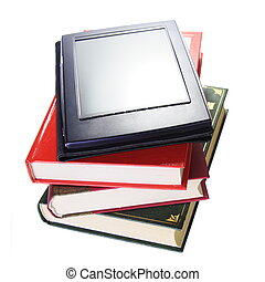 Book Evolution Concept Stack with fictitious Ebook Reader