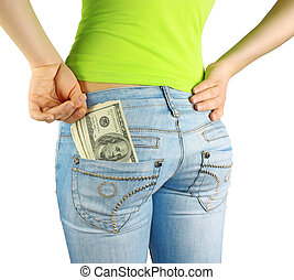 Money in pocket and hand - Girl in jeans with money in...
