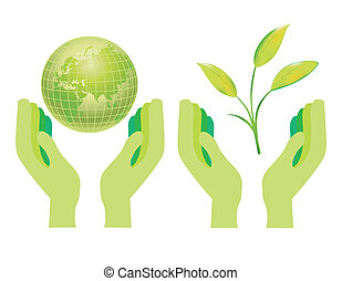 Hands Holding The Earth Globe Vector Illustration Isolated on White