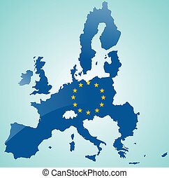 Map of European Union with flag of EU