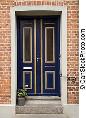 Blue Double Door - Blue double door with golden frames