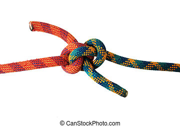 zeppelin knot in red and green climbing ropes isolated on...