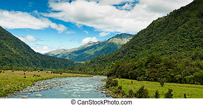 river flowing through a valley