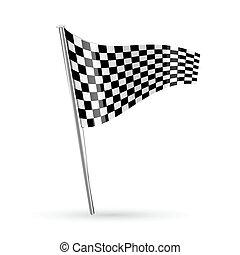 racing flag - illustration of racing flag on white...