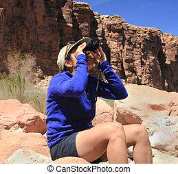 birdwatching woman