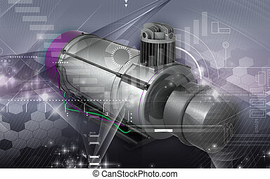 Air compressor - Digital illustration of air compressor in...