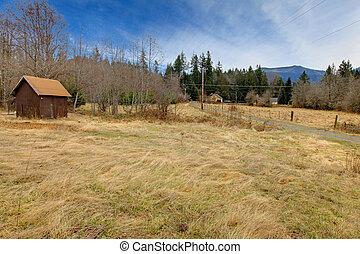 Coutry landscpae with small old shed - Old farm land near...