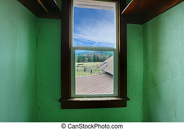 View from an old closet on the farm land - Build in 1907 old...