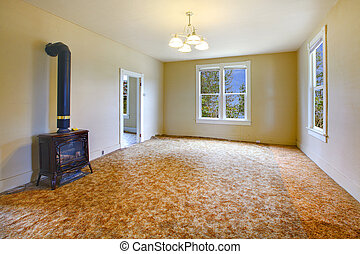 A very old empty living room with yellow walls - Build in...
