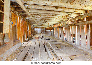 Very old barn on dairy farm interior - Build in 1907 old...