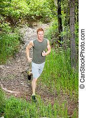 Handsome man jogging