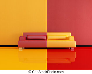 red and orange lounge - red and orange interior with leather...