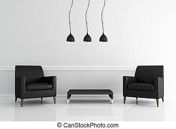 minimal black and white living room - two black leather...