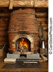 fireplace - The fireplace in the farmhouse. Burning...