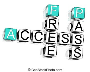 Access Crossword - 3D Access Crossword text on white...