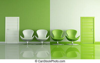 four green and white armchair