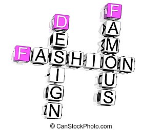Fashion Crossword - 3D Fashion Crossword text on white...