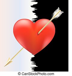 heart and arrow11jpg - on a black-white background a big...