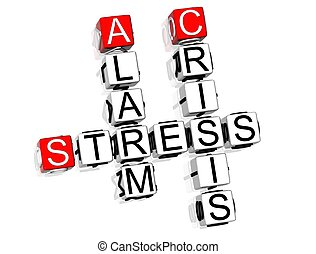 Stress Crossword - 3D Stress Crossword text on white...
