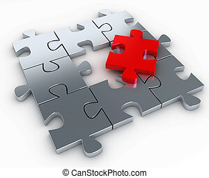 Puzzle pieces with a red piece free