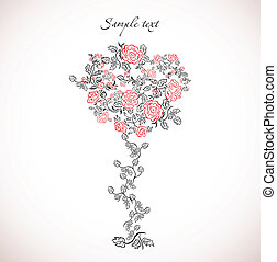 Card with floral tree. Vector - Card with stylized flower...