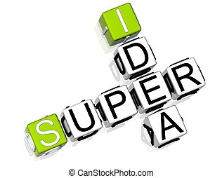 Super Idea Crossword - 3D Super Idea Crossword text on white...