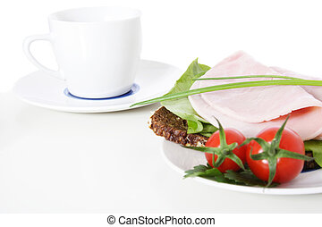 Bread with boiled ham