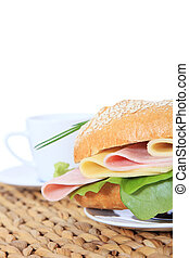 French roll with boiled ham - Fine served french roll with...