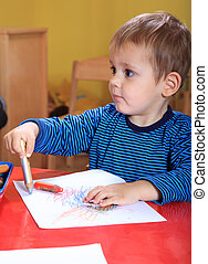 Toddler drawing a picture