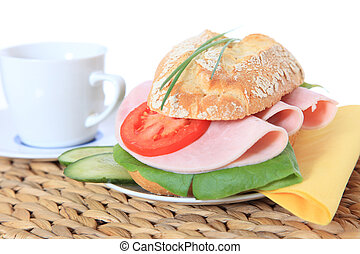 French roll - Fine served french roll with boiled ham and...