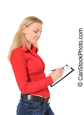 Survey - Attractive blonde woman doing a survey All on white...
