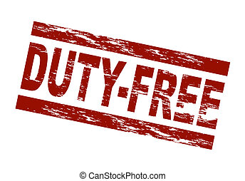 Stamp - duty free - Stylized red stamp showing the term...