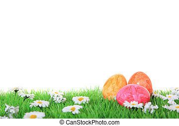 Colored eggs - Colored easter eggs on green meadow. All on...