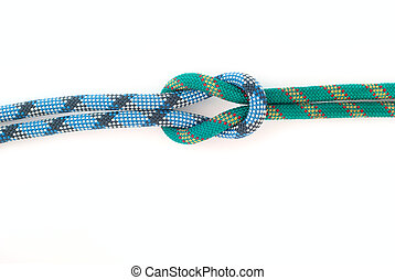 knot - two bound colour ropes on white